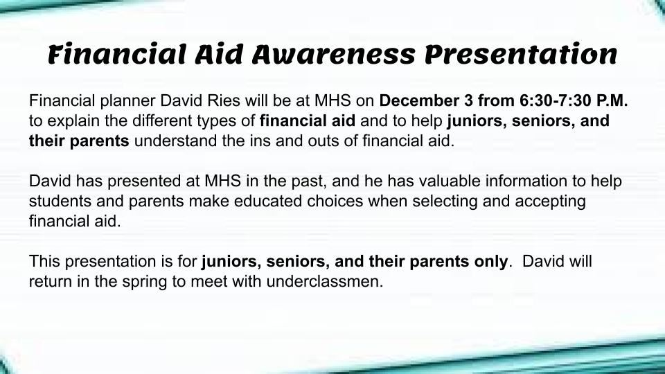 Financial Aid Awareness - December 3 from 6:30-7:30 P.M