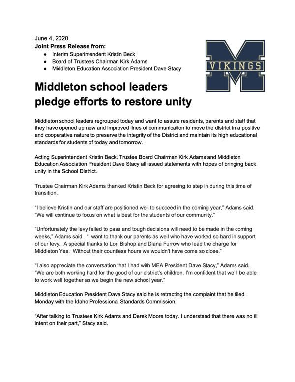 IMPORTANT: Middleton school leaders pledge efforts to restore unity