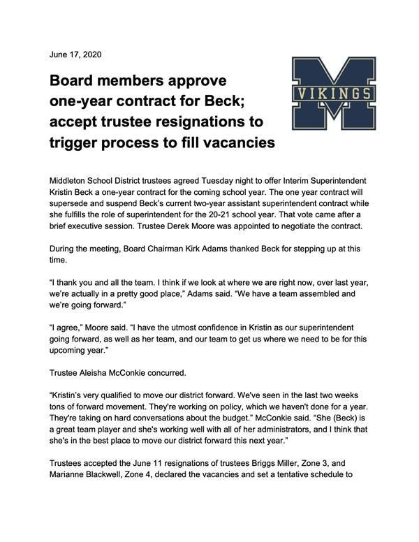 PRESS RELEASE: Board members approve one-year contract for Beck; accept trustee resignations