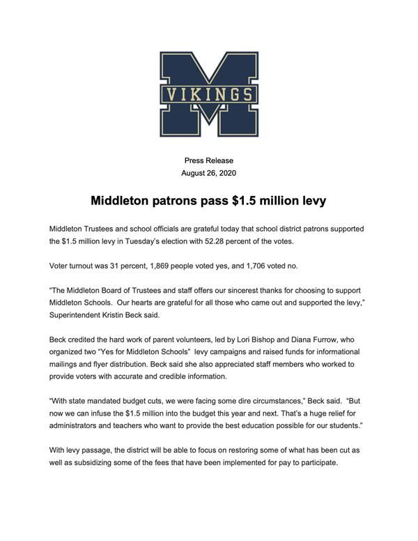 Middleton patrons pass $1.5 million levy