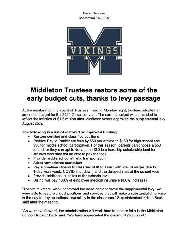 Middleton Trustees restore some of the early budget cuts, thanks to levy passage
