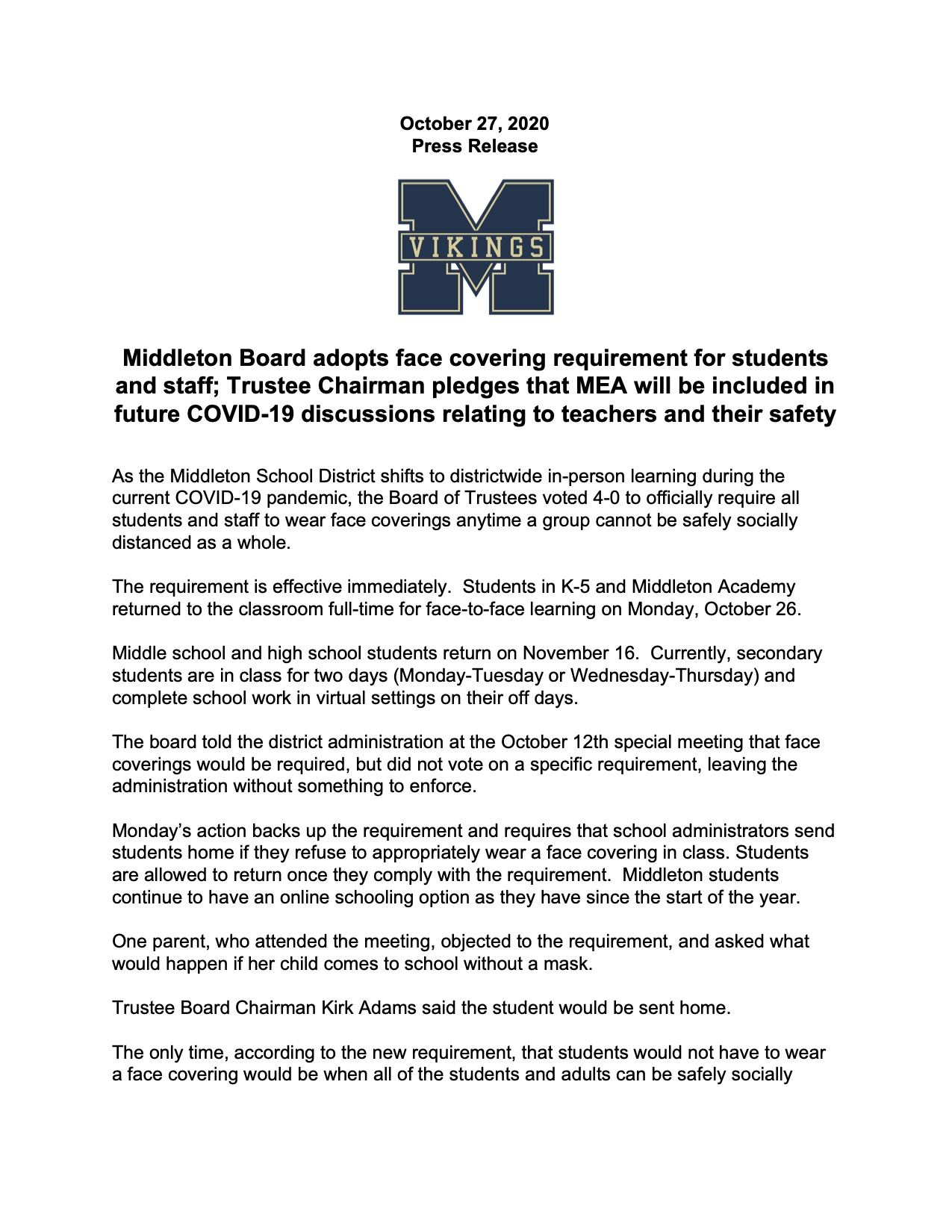 Press Release: Board adopts face covering requirement for students and staff